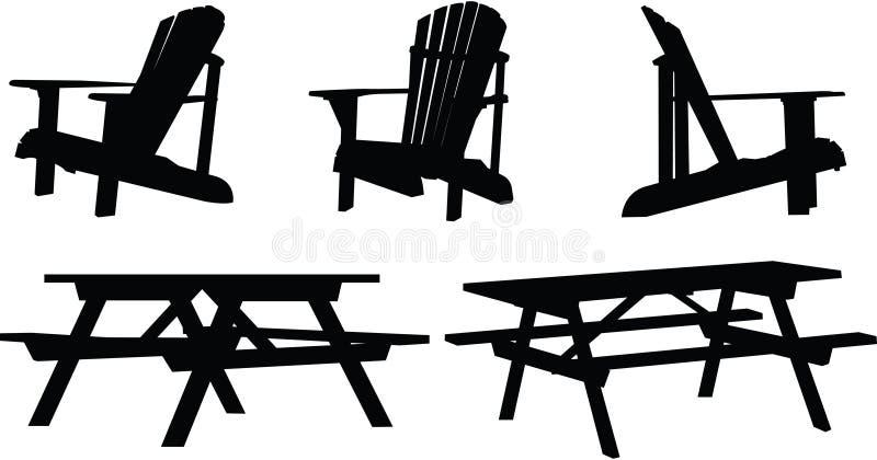 Muebles al aire libre stock de ilustración
