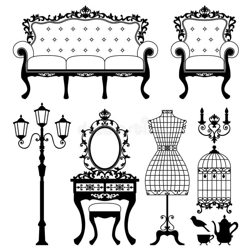 Muebles antiguos stock de ilustración