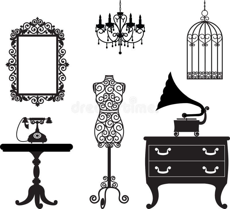 Muebles antiguos ilustración del vector