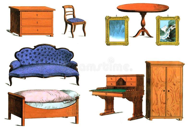 Muebles antiguos en el fondo blanco libre illustration