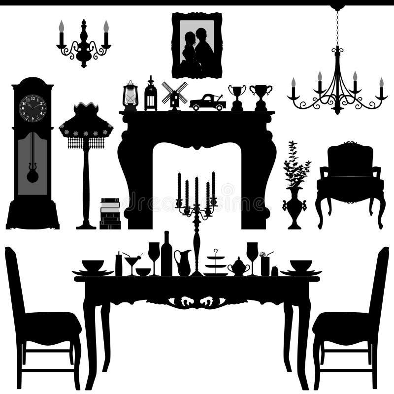 Muebles antiguos viejos tradicionales Inte del área de cena ilustración del vector