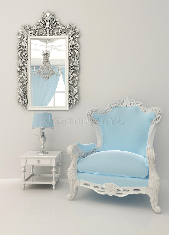 Muebles barrocos en interior de lujo ilustración del vector