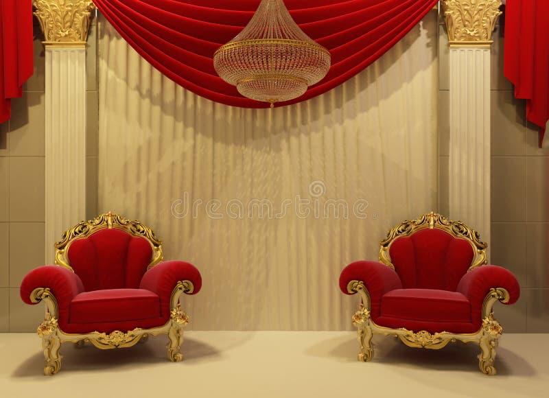 Muebles barrocos en interior real ilustración del vector