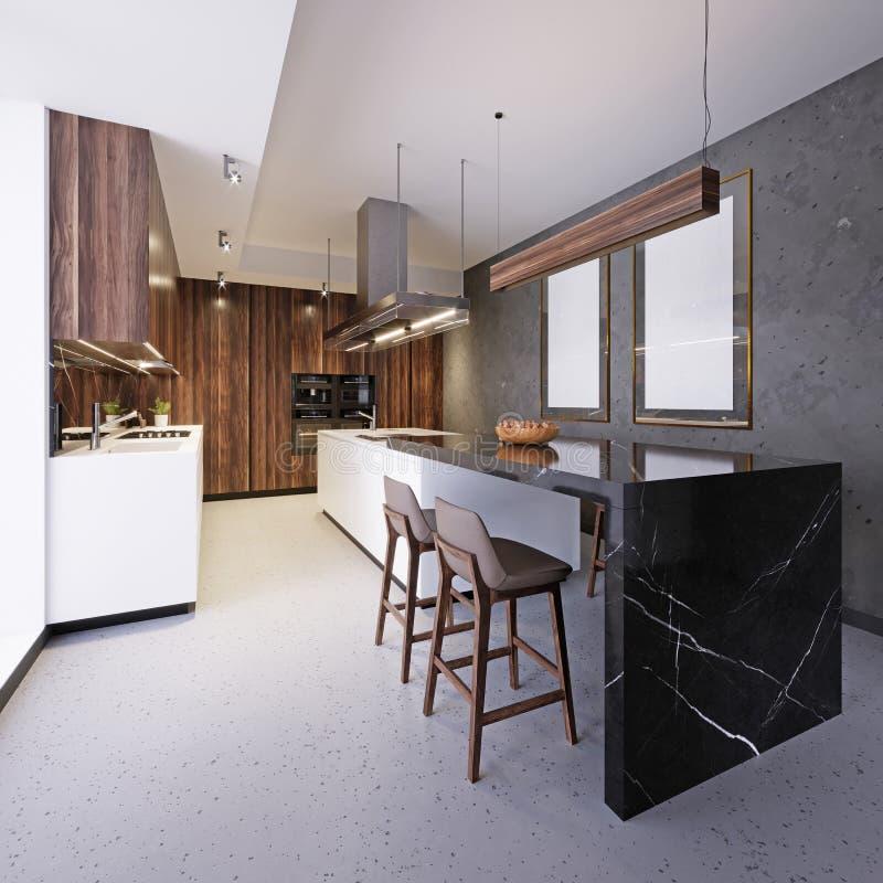 Muebles blancos de la cocina con la isla de cocina y barra en interior del desván stock de ilustración