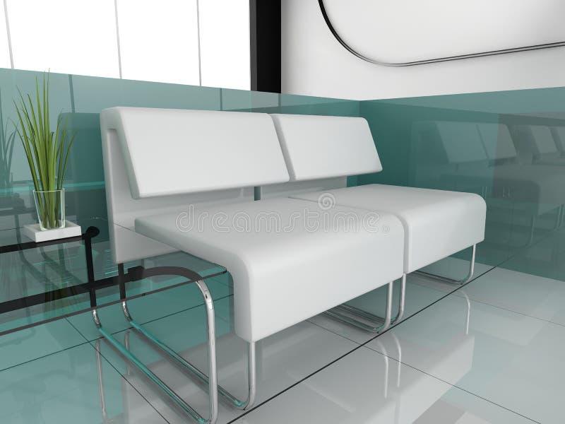 Muebles blancos en la oficina blanca libre illustration