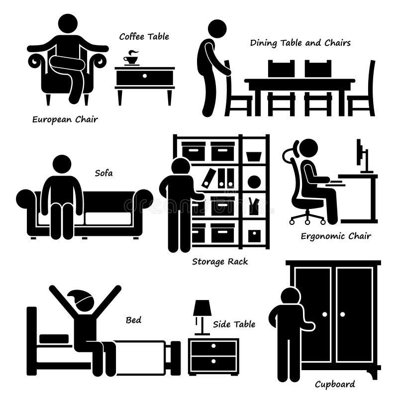 Muebles caseros Cliparts de la casa ilustración del vector