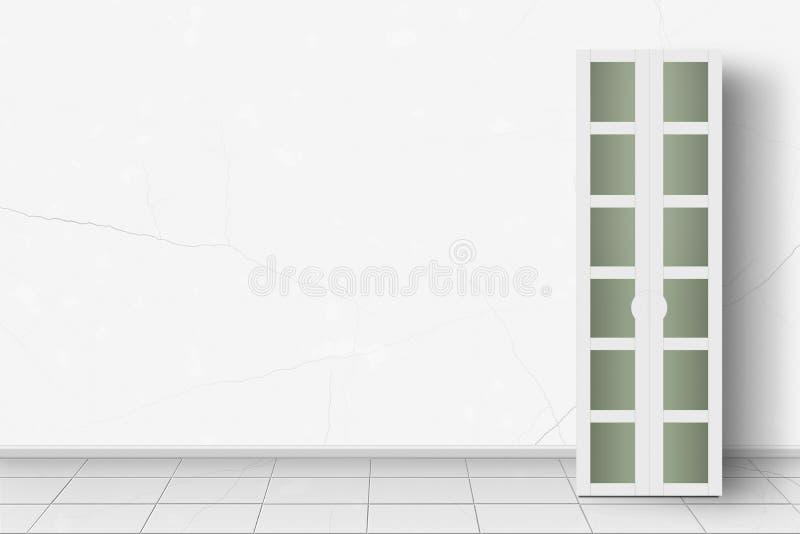 Muebles caseros del interior - guardarropa moderno delante de w blanco ilustración del vector