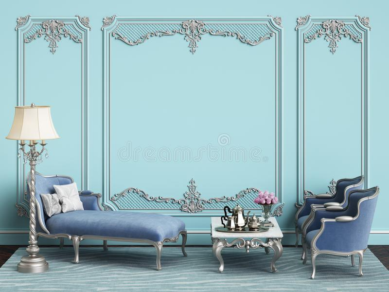 Muebles clásicos en terciopelo y plata azules en interior clásico libre illustration