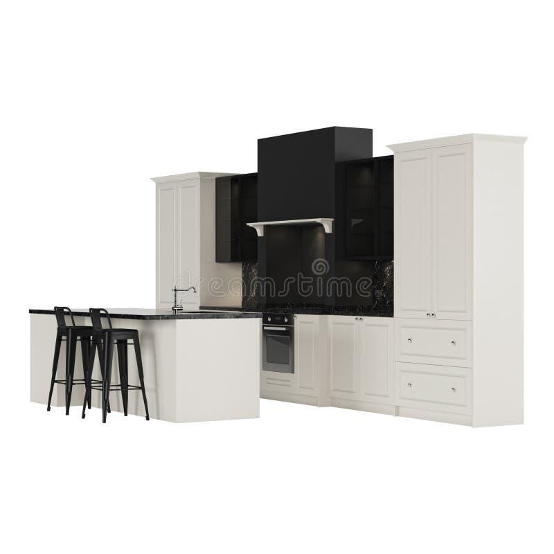 Muebles De La Cocina En Un Estilo Moderno Aislados En Un Fondo ...