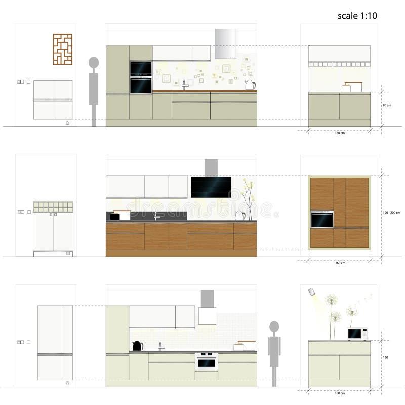 Muebles de la cocina. Muebles interiores. Illu del vector ilustración del vector