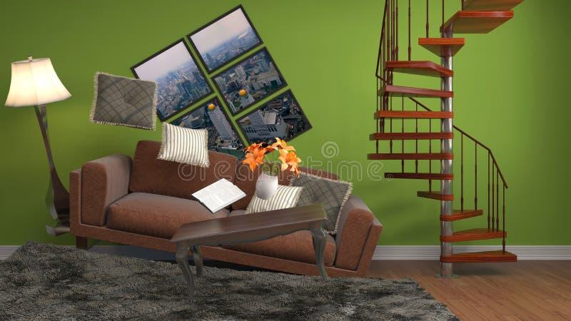 Muebles de la gravedad cero que asoman en sala de estar ilustración 3D ilustración del vector