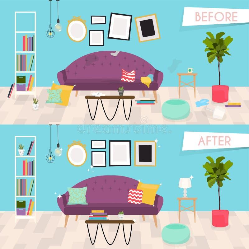 Muebles de la sala de estar antes y después de la limpieza Interior casero r stock de ilustración