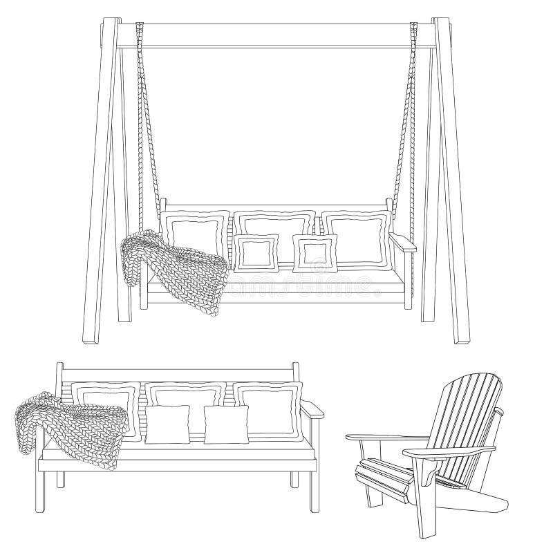 Muebles de madera clásicos al aire libre - silla del oscilación, del banco y del adirondack Ejemplo del esquema en el fondo blanc ilustración del vector