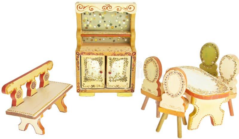 Muebles de madera pintados a mano de la cocina foto de archivo