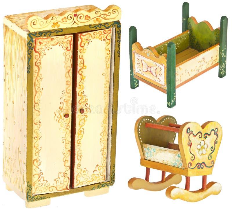 Muebles De Madera Pintados A Mano Del Dormitorio Imagen de archivo ...