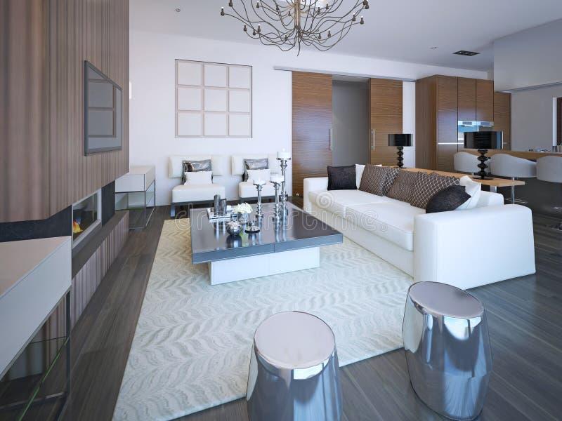 Muebles De Moda En Sala De Estar Acogedora Grande Stock de ...