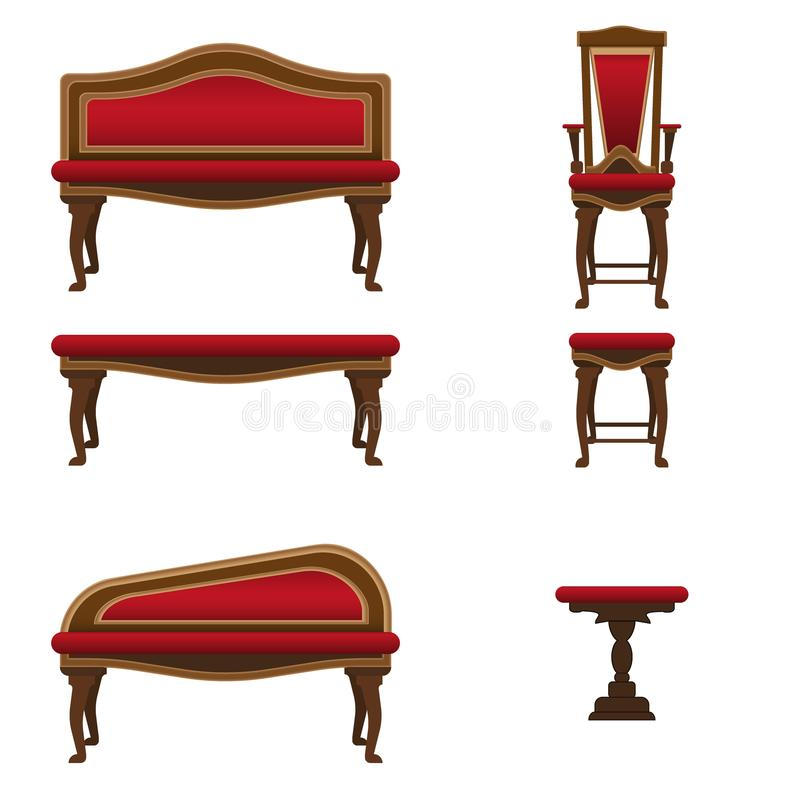 Muebles de NUpholstered para el interior de la sala de estar Sillas, benchesn stock de ilustración