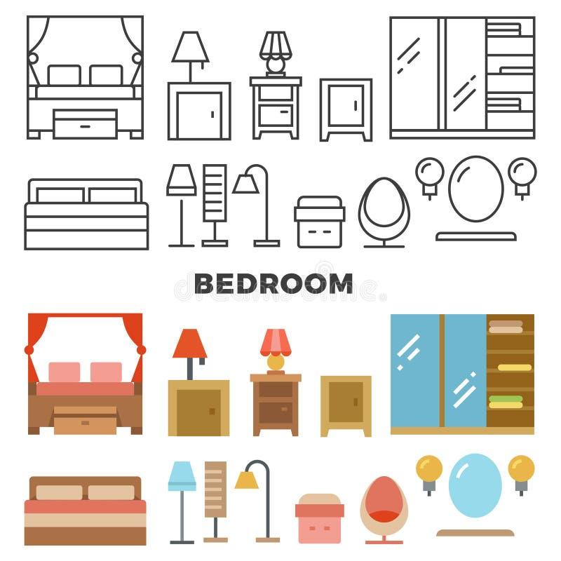 Muebles del dormitorio y colección de los accesorios - iconos planos de los muebles ilustración del vector
