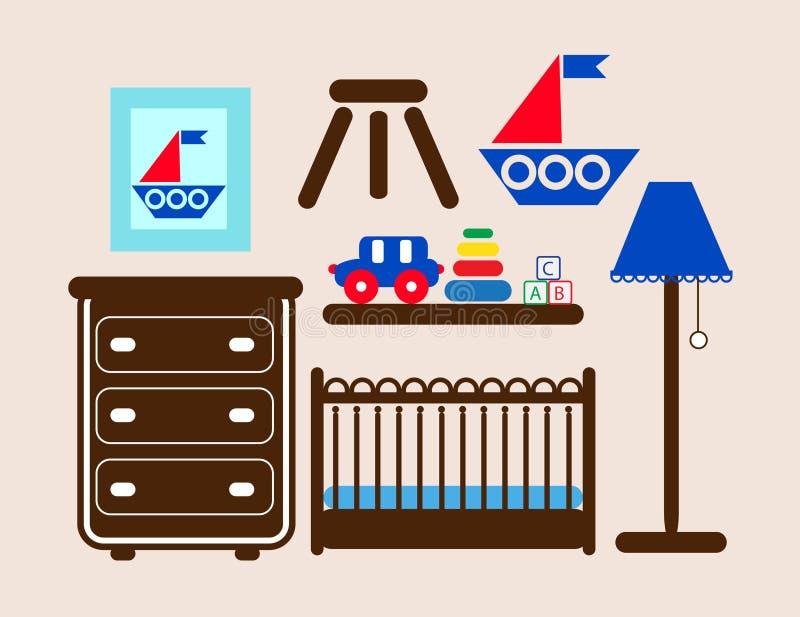 Muebles del sitio del bebé stock de ilustración
