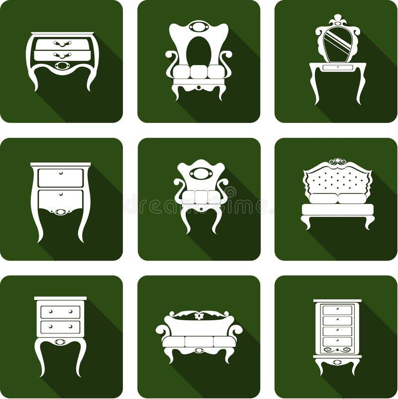 Muebles del vintage de los iconos imagen de archivo