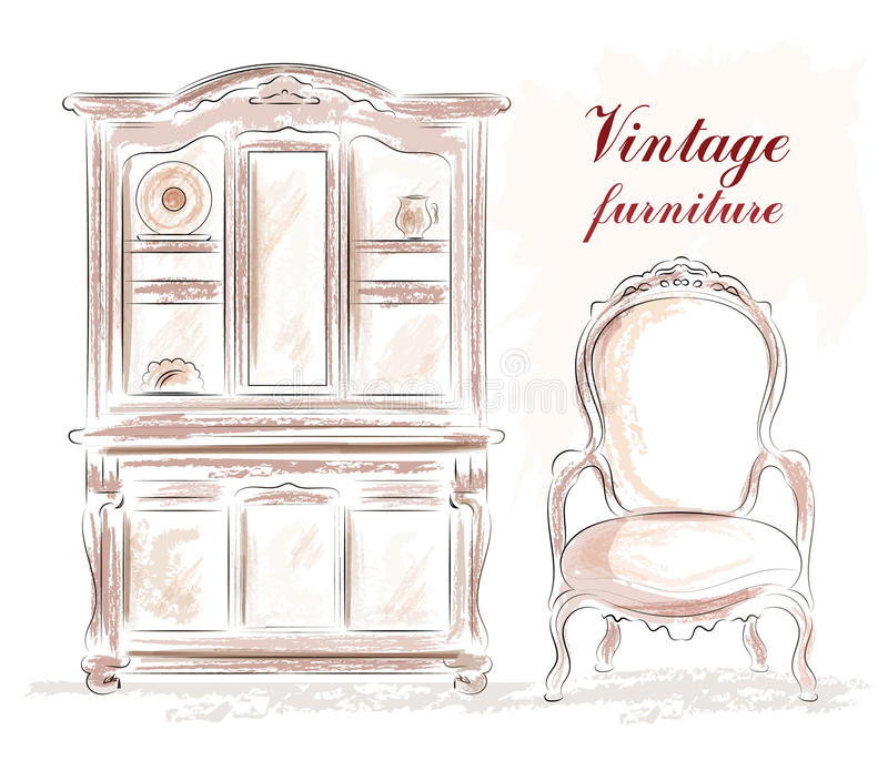 Muebles del vintage fijados: armario y silla del viejo estilo bosquejo stock de ilustración