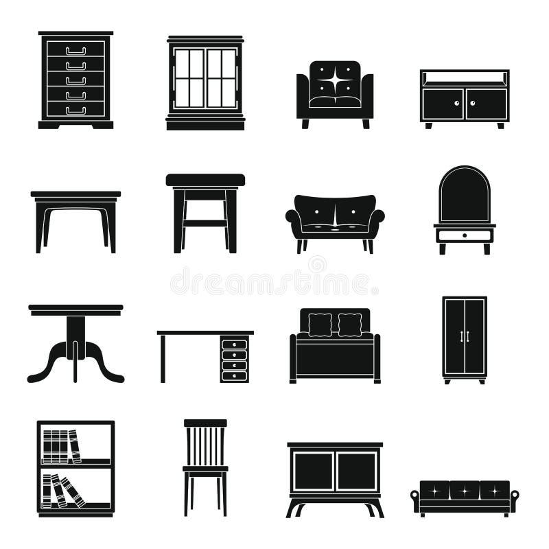 Muebles determinados de la oficina y de la casa de la silueta del negro plano ilustración del vector