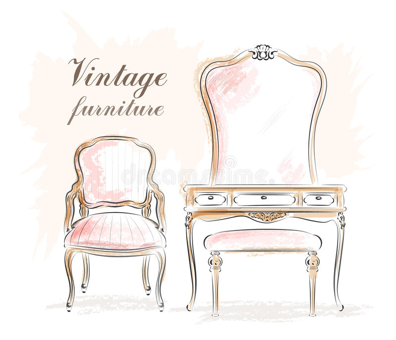 Muebles elegantes del vintage: tocador con el espejo y las sillas bosquejo stock de ilustración