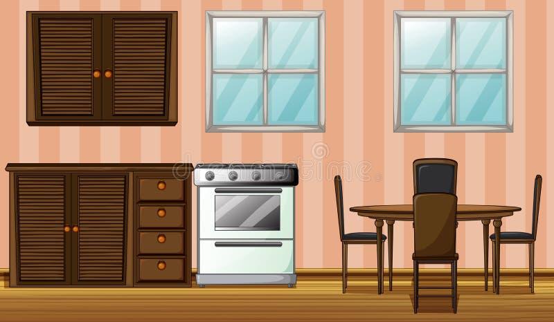 Muebles en un cuarto stock de ilustración