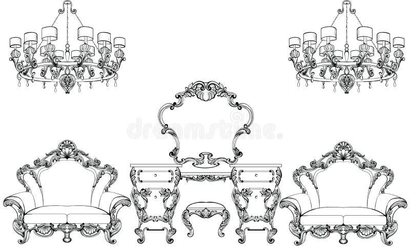 Muebles exquisitos y tocador barrocos imperiales fabulosos grabados Complejo rico de lujo francés del vector stock de ilustración