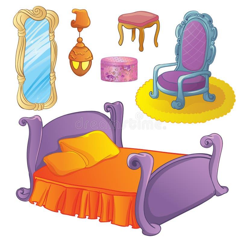 Muebles fijados para el dormitorio de hadas stock de ilustración