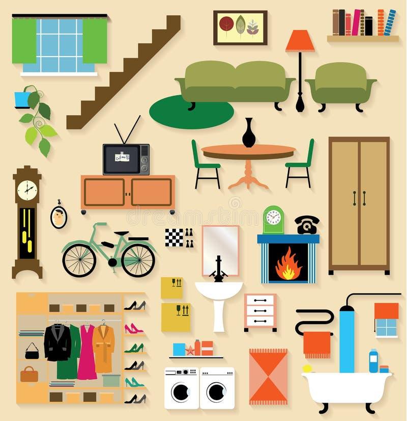 Muebles fijados para los cuartos de la casa ilustraci n for Muebles de la casa en ingles