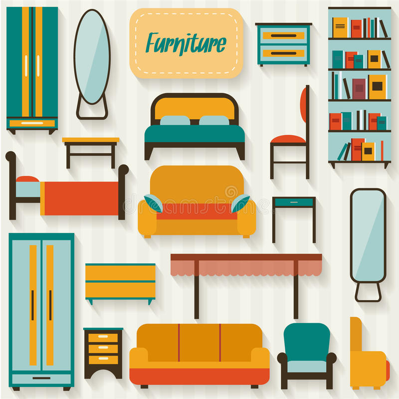 Muebles fijados para los cuartos de la casa ilustraci n for Muebles de casa