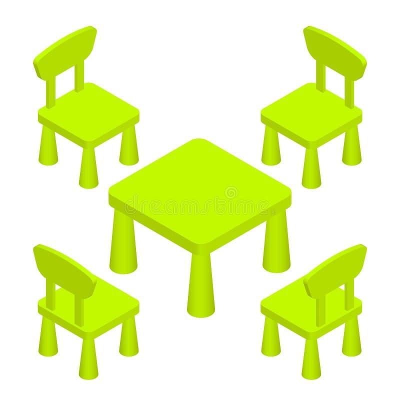 Muebles interiores de niños del sitio isométrico de juego - tabla y sillas Ejemplo EPS 10 del vector aislado en blanco libre illustration