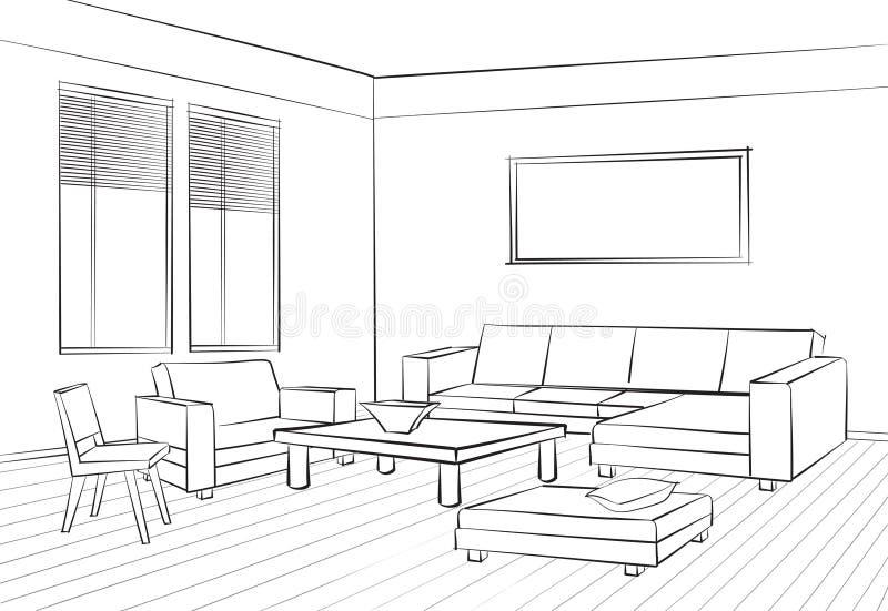 Muebles interiores del bosquejo interior del sitio del diseño de la sala de estar concentrados stock de ilustración