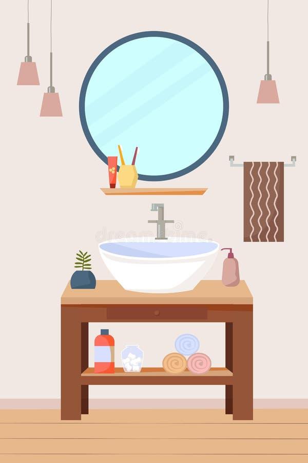 Muebles interiores del cuarto de baño con el fregadero y el estante de madera, un espejo redondo, lámparas, toallas Ejemplo plano stock de ilustración