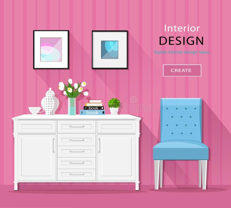 Muebles interiores del sitio elegante lindo: cómoda, silla, imágenes con las sombras largas Estilo plano stock de ilustración