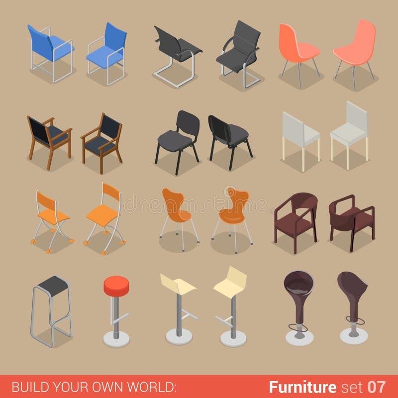 Muebles isométricos de la barra de la silla del asiento del vector plano casero de la butaca libre illustration