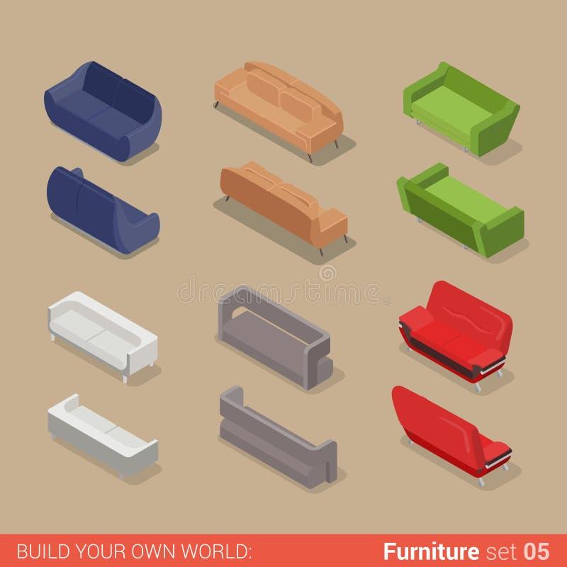 Muebles isométricos del vector plano del diván del sofá del asiento del sofá stock de ilustración