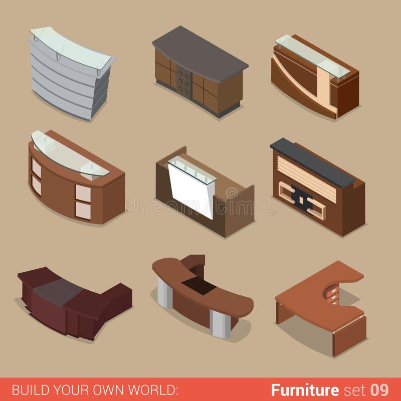 Muebles isométricos del vector plano del sitio de la tabla de la recepción de la oficina libre illustration
