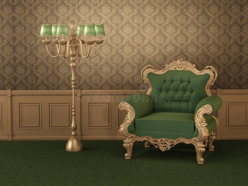 Muebles labrados viejos. Butaca con el marco libre illustration