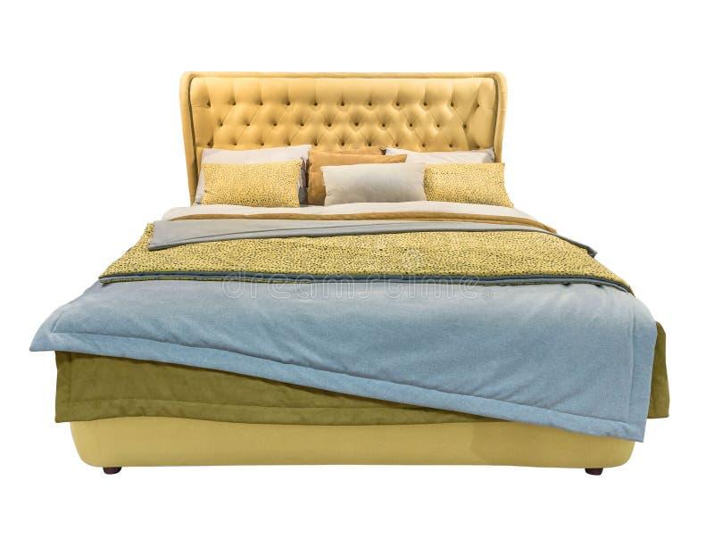 Muebles modernos amarillos de lujo de la cama con la cama modelada con el cabecero y la tela de cuero de la textura del capitone  fotos de archivo libres de regalías