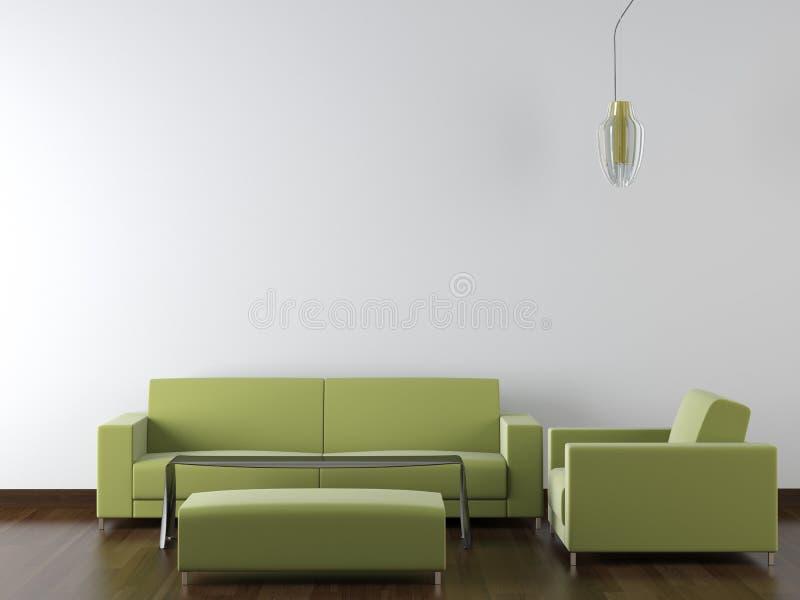 Muebles modernos del diseño interior en blanco stock de ilustración
