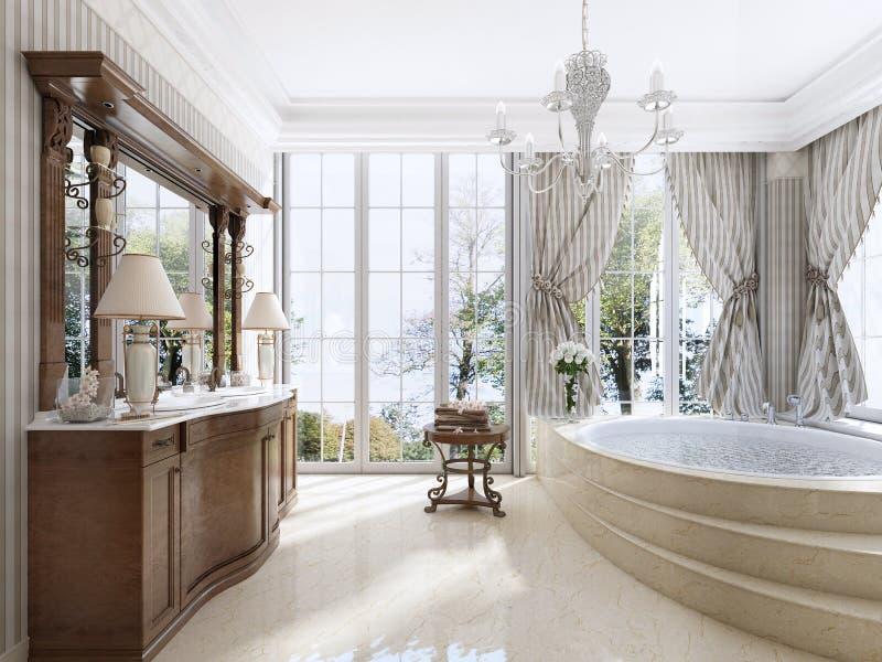 Muebles neoclásicos de lujo en estilo moderno en el cuarto de baño ilustración del vector