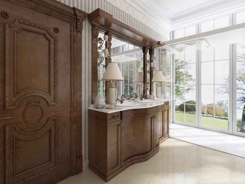 Muebles neoclásicos de lujo en estilo moderno en el cuarto de baño stock de ilustración