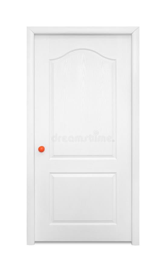 Muebles - puerta interior del blanco en la manija anaranjada Aislado foto de archivo libre de regalías