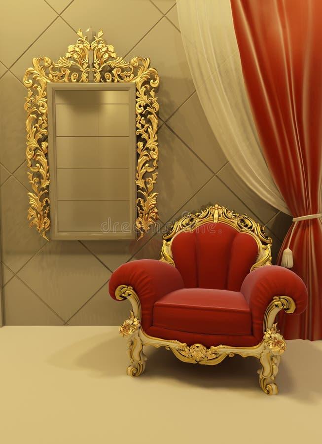 Muebles reales en un interior lujoso stock de ilustración