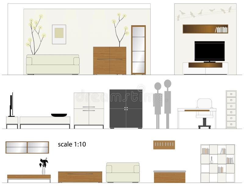 Muebles. Sala de estar del diseño. Muebles interiores. ilustración del vector