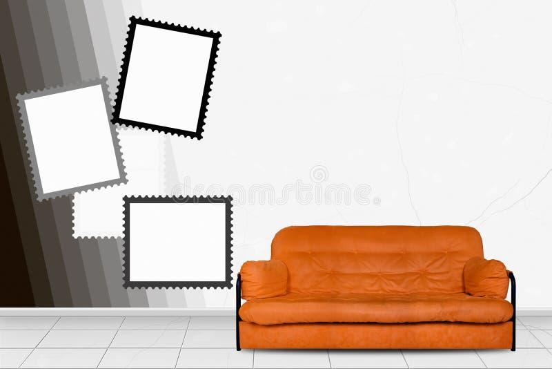 Muebles Tapizados En El Interior Casero - Sofá Del Diván Delante De ...