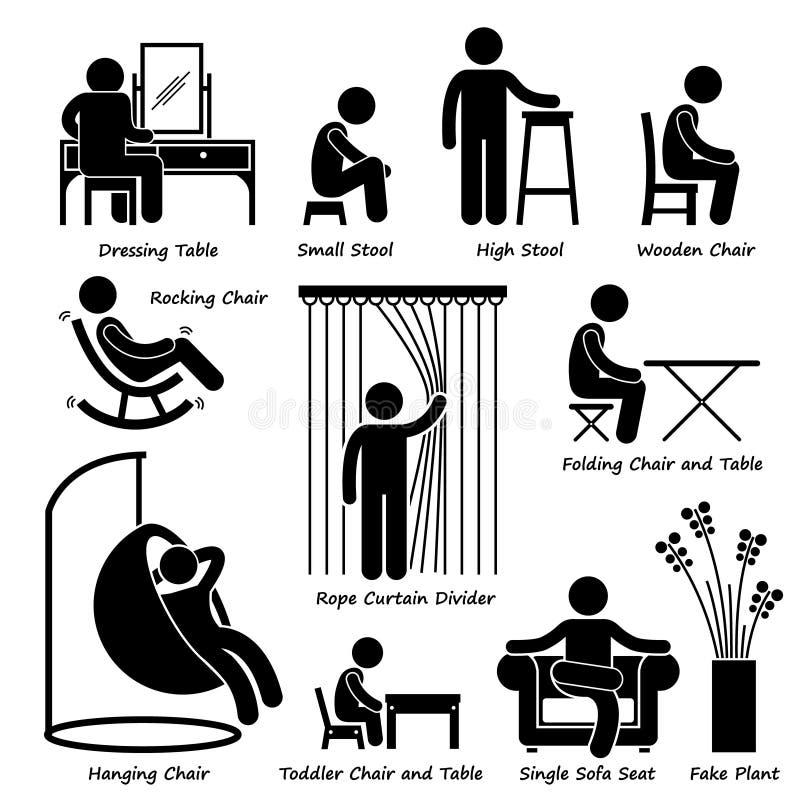 Muebles y decoraciones caseros Cliparts de la casa stock de ilustración