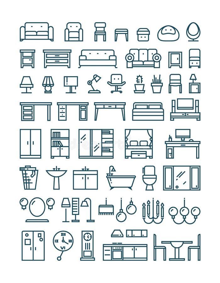 Muebles y línea sanitaria iconos finos del vector libre illustration
